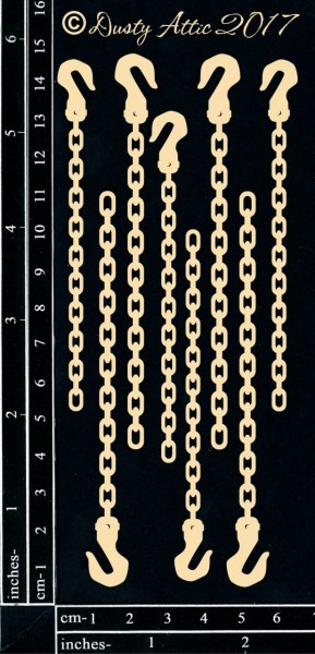 Dusty Attic - Chipboard - Chains with Hooks